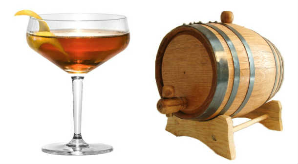 Barrel Aged Vieux Carre Cocktails